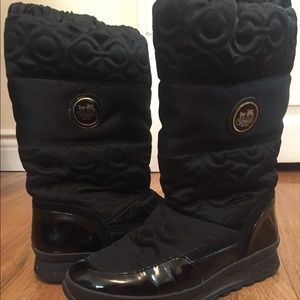 Black satin Coach winter boots - Size 6